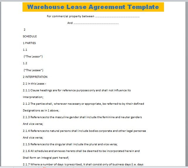 Warehouse Lease Agreement Template 19