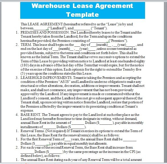 Warehouse Lease Agreement Template 20