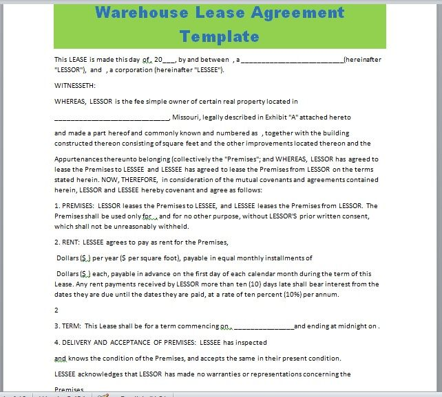 Warehouse Lease Agreement Template 21