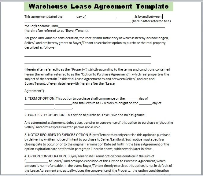 Warehouse Lease Agreement Template 22