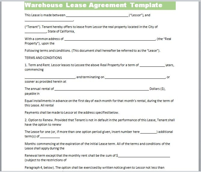 Warehouse Lease Agreement Template 24