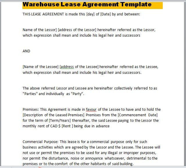 Warehouse Lease Agreement Template 25