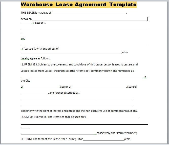 Warehouse Lease Agreement Template 26