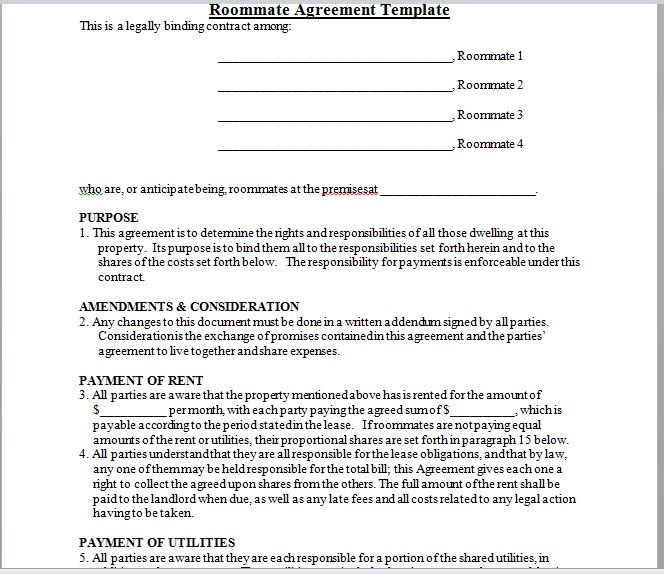 roommate agreement template 01