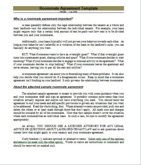 roommate agreement template 04