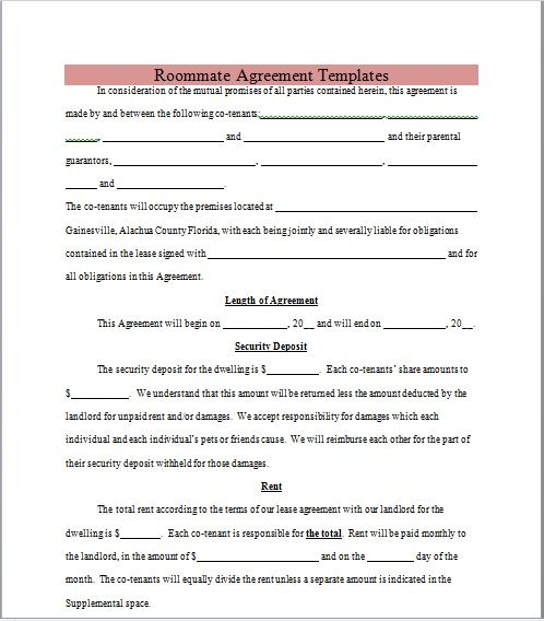 roommate agreement template 05
