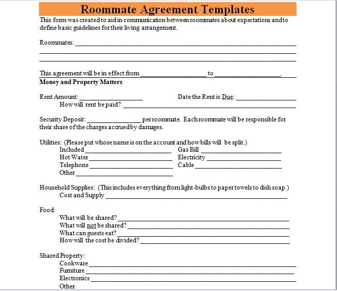 roommate agreement template 06