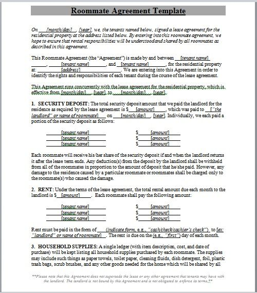 roommate agreement template 08