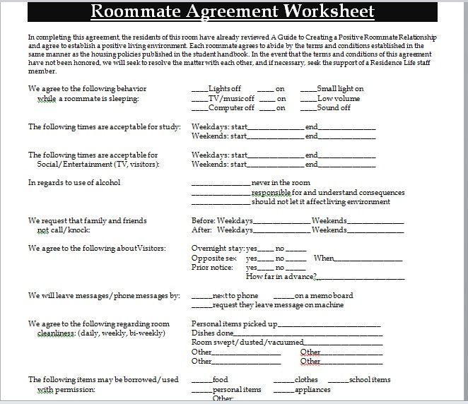 roommate agreement template 10