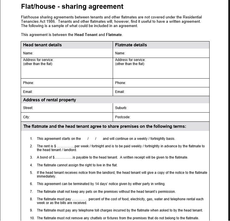 roommate agreement template 12