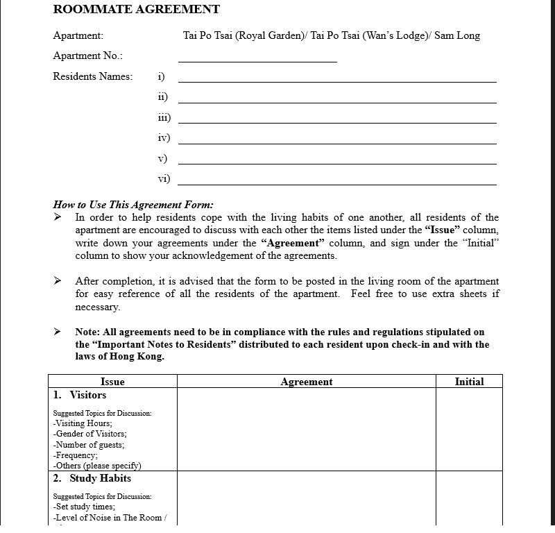 roommate agreement template 14