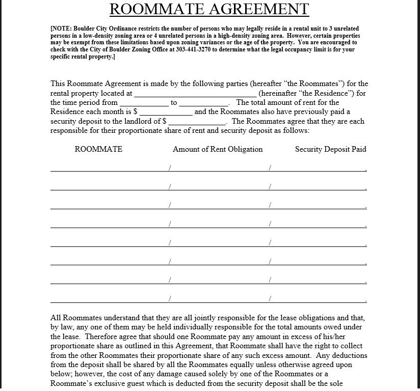 roommate agreement template 17