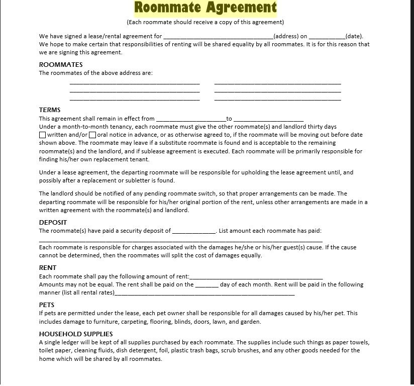roommate agreement template 22