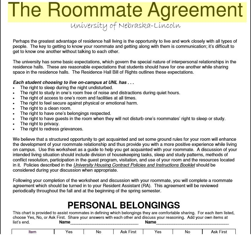 roommate agreement template 24