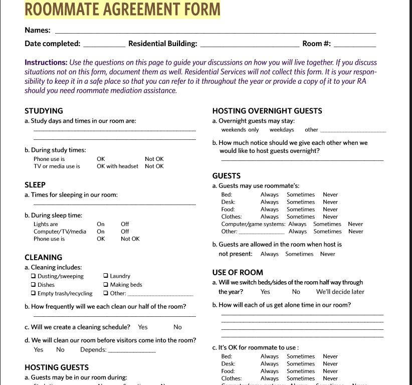 roommate agreement template 25